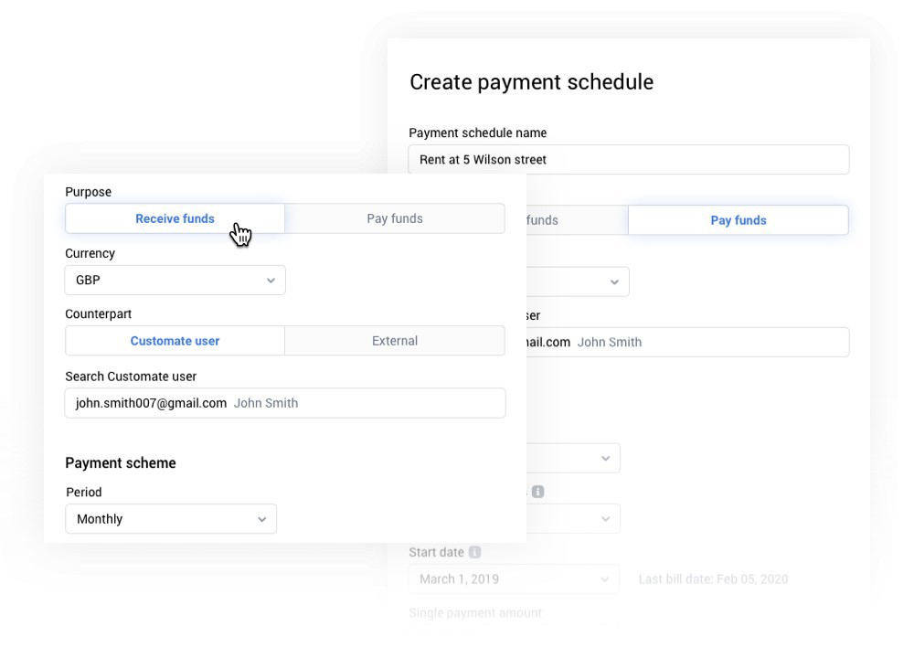 Create your payment schedule. Invite your customer to pay you. Set and forget