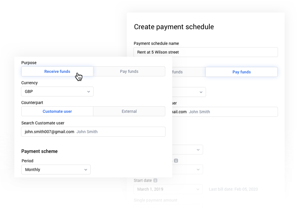 Create automated payment schedules to receive and pay money